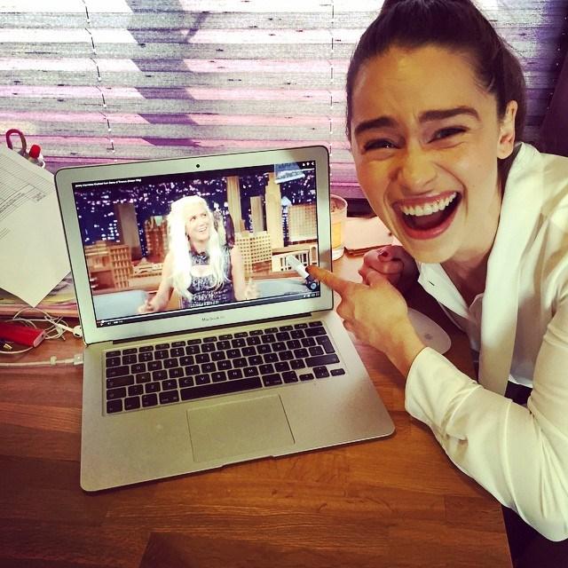 "<p>Emilia loved <a href=""https://www.instagram.com/p/2GHRETo1Lb/?taken-by=emilia_clarke"" target=""_blank"">Kristen Wiig's Daenerys impression</a> on <em>The Tonight Show with Jimmy Fallon</em>."