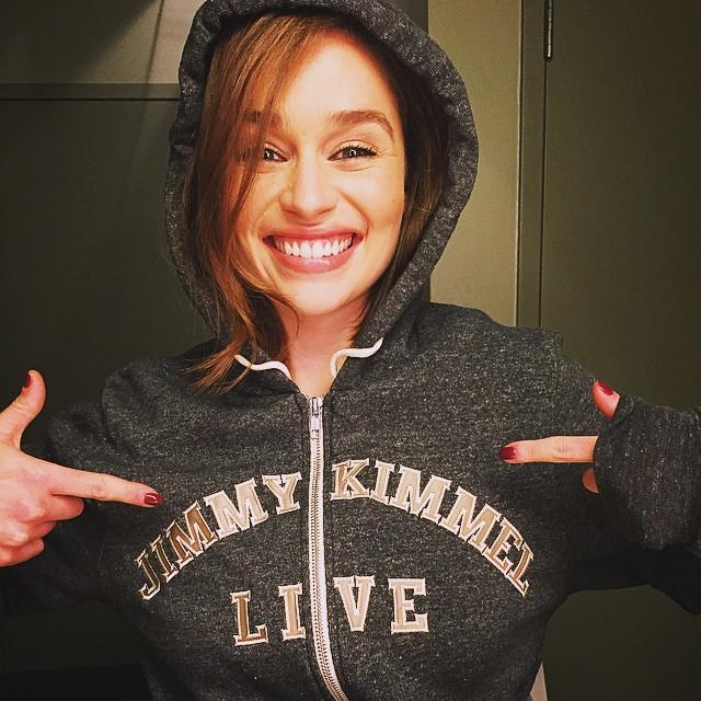 """<p>Look at how excited Emilia was to get this <a href=""""https://www.instagram.com/p/4iLIC4I1IQ/?taken-by=emilia_clarke"""" target=""""_blank"""">Jimmy Kimmel hoodie</a>."""