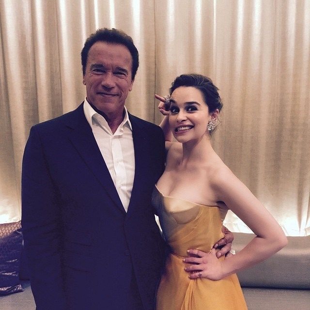 "<p>Emilia <a href=""https://www.instagram.com/p/4oipIzI1Eq/?taken-by=emilia_clarke"" target=""_blank"">joked around</a> with Arnold Schwarzenegger on the press tour for <em>Terminator Genisys</em>."