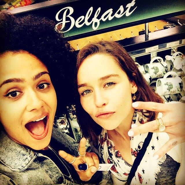 """<p>She <a href=""""https://www.instagram.com/p/5SaiI1o1Oh/?taken-by=emilia_clarke"""">met up</a> with her onscreen <em>Game of Thrones</em> buddy Nathalie Emmanuel (who plays Missandei) IRL."""