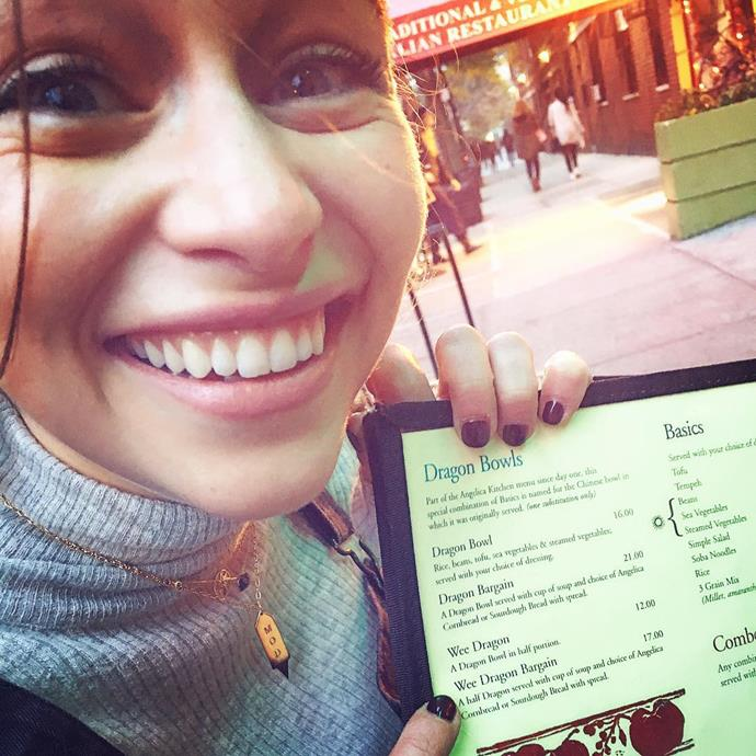 """<p>She couldn't <a href=""""https://www.instagram.com/p/9PJAXoI1O8/"""" target=""""_blank"""">contain her glee</a> when she found a 'dragon-inspired' section on a menu."""