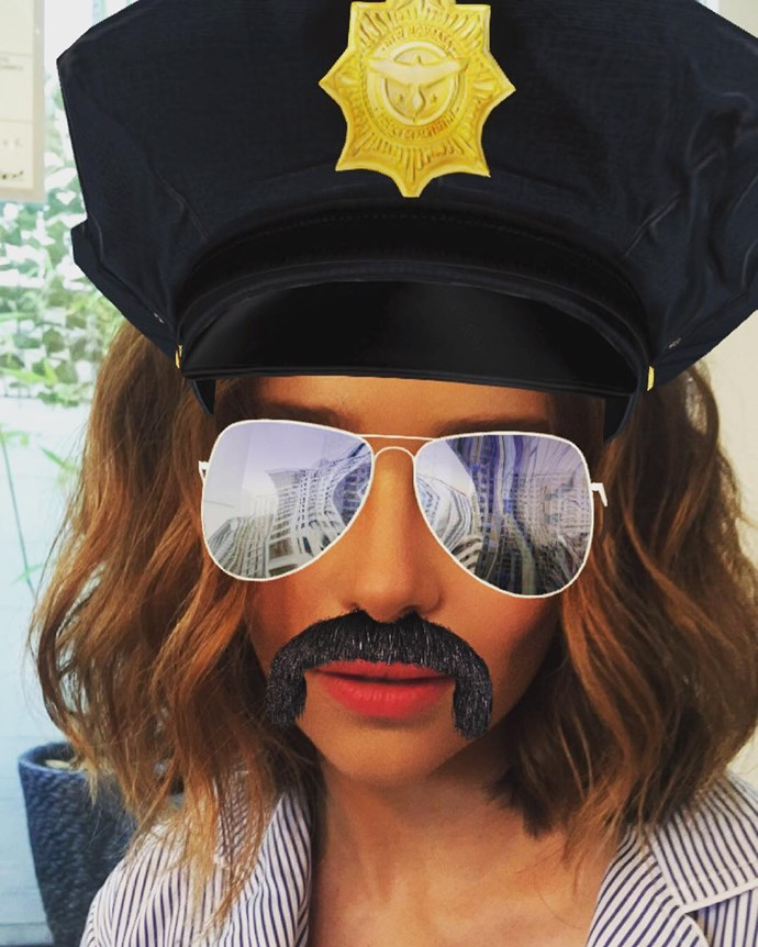 "<p>Girl looks glam with this <a href=""https://www.instagram.com/p/BEAEY6YI1Cy/?taken-by=emilia_clarke"" target=""_blank"">police officer Snapchat filter</a>."