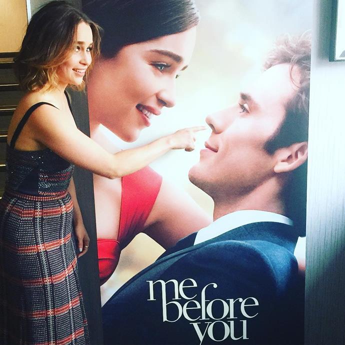 "<p>Emilia <a href=""https://www.instagram.com/p/BFnXZnGI1Ie/"" target=""_blank"">picked the poster nose</a> of her <em>Me Before You</em> love interest Sam Claflin."