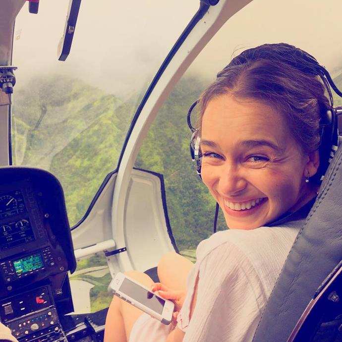 """<p>Emilia was filled with joy when she <a href=""""https://www.instagram.com/p/BJdFWAgjtwE/"""">flew over the island of Kauai</a> in a helicopter."""