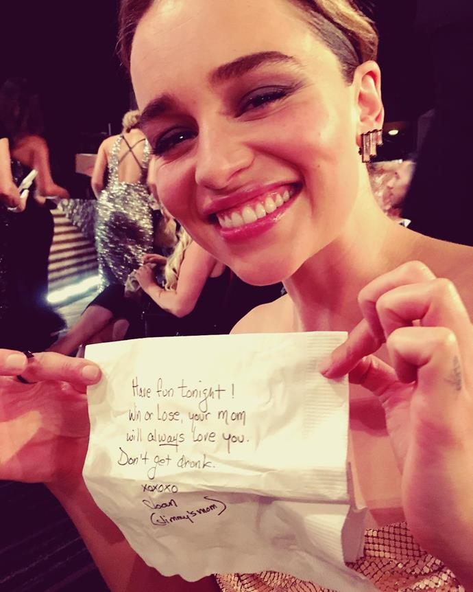 """<p>She really appreciated the <a href=""""https://www.instagram.com/p/BKhP2ZFD_SN/"""">note from Jimmy Kimmel's mother</a> at the 2016 Emmys."""