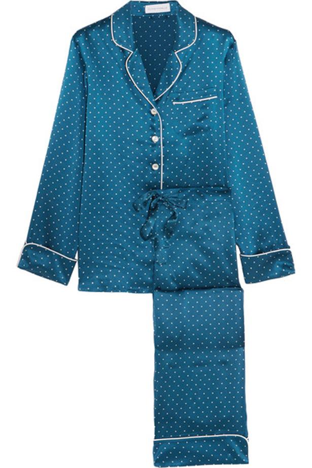 """<p>Comfy enough to sleep in throughout that 10 hour flight, chic enough to show-off to the flight attendant come meal time.<p><br> <a href=""""https://www.net-a-porter.com/au/en/product/726473/Olivia_von_Halle/lila-polka-dot-silk-satin-pajama-set"""">Pyjamas, $514, Olivia von Halle at net-a-porter.com.</a>"""
