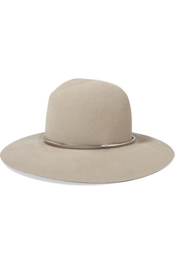 """<p>Take a leaf out of airport experts Miranda Kerr and Rosie Huntington-Whiteley's books and throw a wide-brim fedora in with your look. It automatically makes your outfit polished, effortless and paparazzi-proof (just in case).<p><br> <a href=""""https://www.net-a-porter.com/au/en/product/718728/janessa_leone/ava-wool-felt-fedora"""">Hat, $261, Janessa Leone at net-a-porter.com</a>."""
