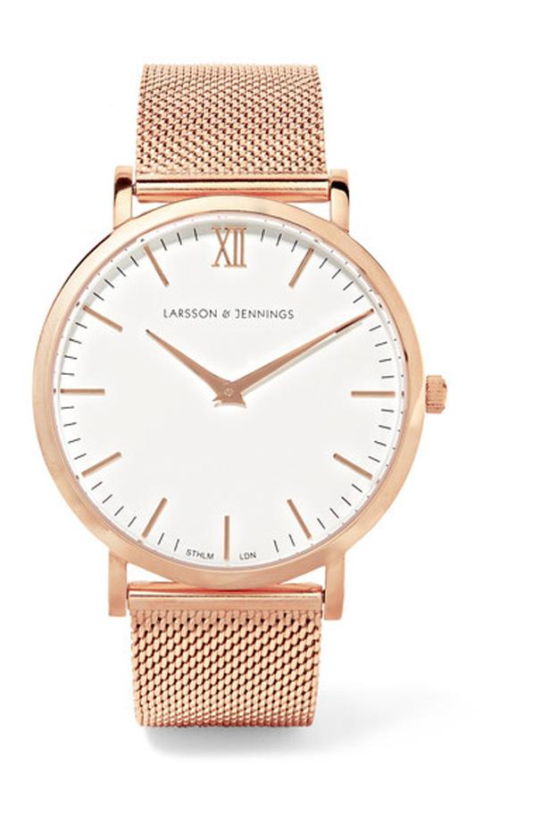 """<p>Make your flight on time, every time with this sweet time-keeper.<p><br> <a href=""""https://www.net-a-porter.com/au/en/product/763450/larsson___jennings/lugano-rose-gold-plated-watch"""">Watch, $434, Larsson & Jennings at net-a-porter.com</a>."""