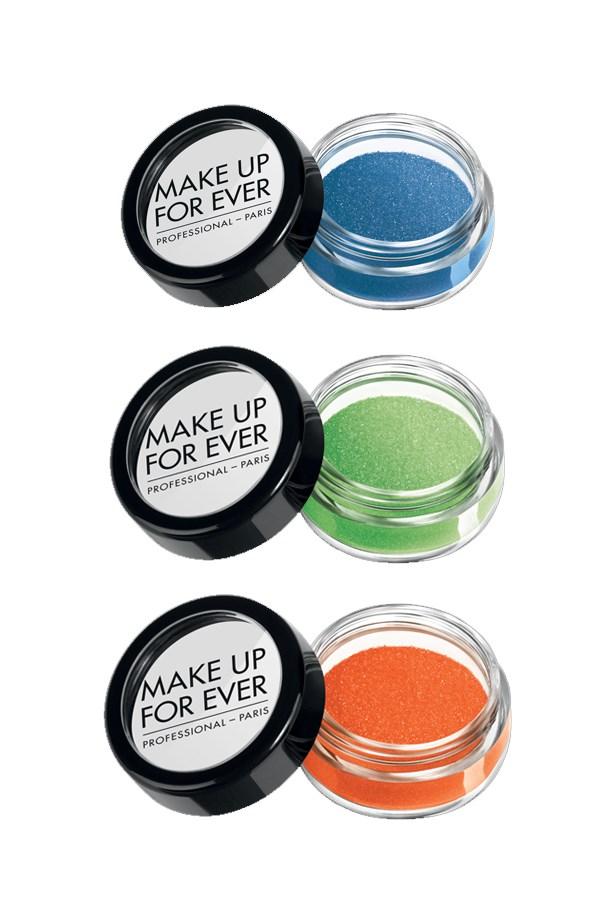 """Star Powders in 'Blue', 'Green Apple' and 'Iridescent Orange', $26, <a href=""""http://www.makeupforever.com/us/en-us/make-up/eyes/eye-shadow/star-powder"""">Make Up For Ever</a>."""