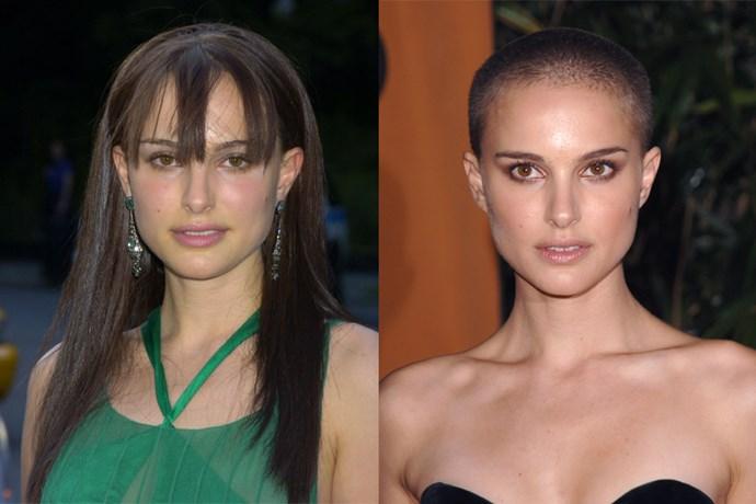 Natalie Portman left her 'Star Wars' look on the hairdresser floor when she shaved her head on film for 'V For Vendetta'.