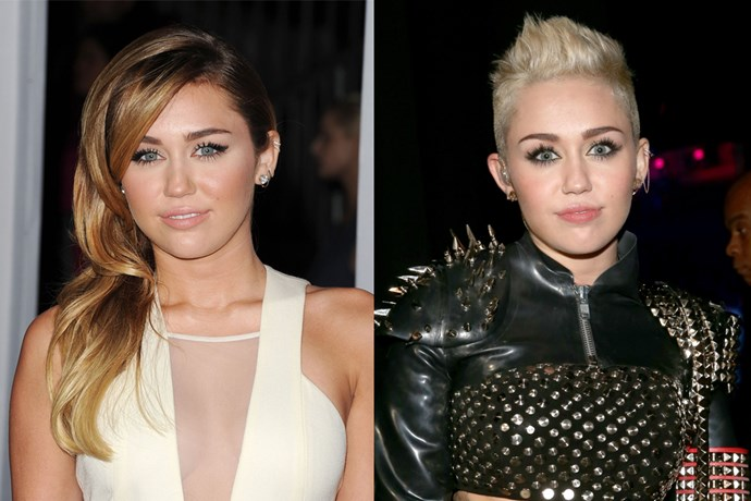 Miley Cyrus didn't ease us into her new look, she went from Disney princess to bleach blonde rocker gyrating on stage in 0 to 100.