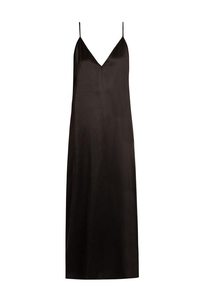 """<a href=""""http://www.matchesfashion.com/au/products/Raey-Deep-V-neck-silk-satin-midi-slip-dress-1087288"""">Dress, $263, Raey at matchesfashion.com</a>"""