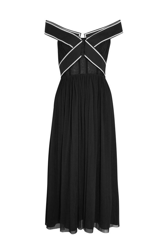 """<a href=""""https://www.net-a-porter.com/au/en/product/791187/topshop_unique/constance-off-the-shoulder-tulle-gown"""">Dress, $620, Topshop Unique at net-a-porter.com</a>"""