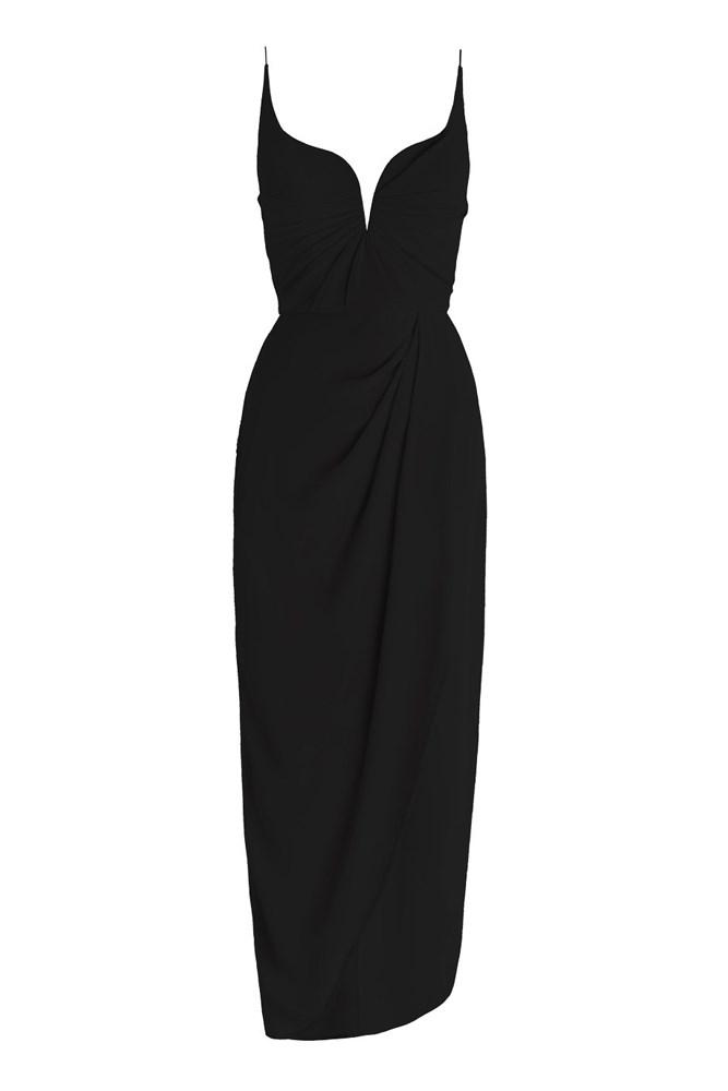 """<a href=""""https://www.zimmermannwear.com/readytowear/clothing/dresses/silk-drape-long-dress-black.html"""">Dress, $520, Zimmermann</a>"""
