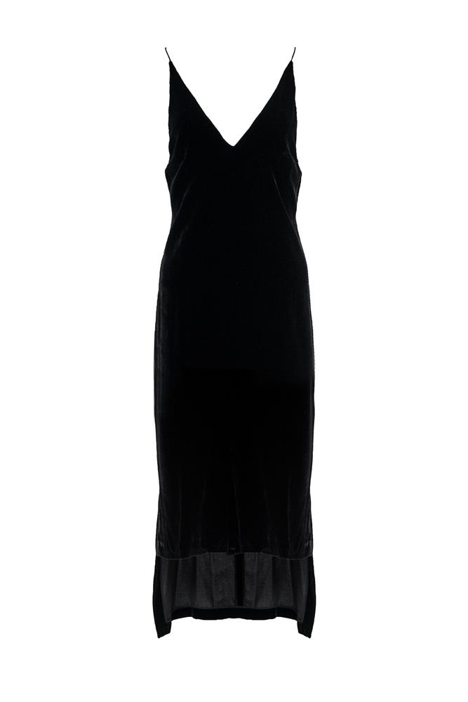 "<a href=""https://www.theundone.com/collections/dresses/products/dion-lee-black-velvet-slip-cami-midi-dress"">Dress, $690, Dion Lee at theundone.com</a>"