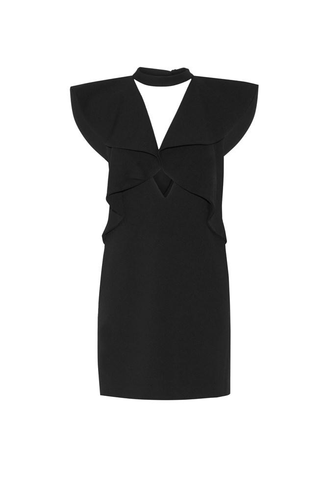 """<a href=""""https://www.net-a-porter.com/au/en/product/755703/Goen_J/ruffled-stretch-wool-mini-dress"""">Dress, $954, Goen J at net-a-porter.com</a>"""
