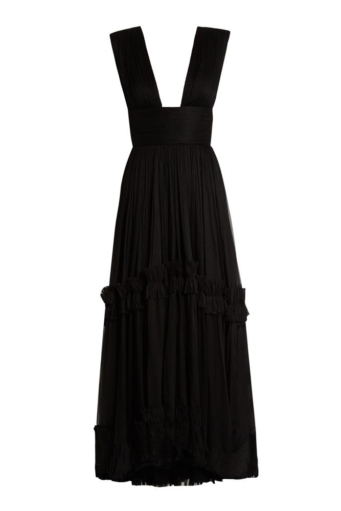 "<a href=""http://www.matchesfashion.com/au/products/Maria-Lucia-Hohan-Polynesia-pleated-silk-mouselline-gown-1066945"">Gown, $2098, Maria Lucia Hohan at matchesfashion.com</a>"