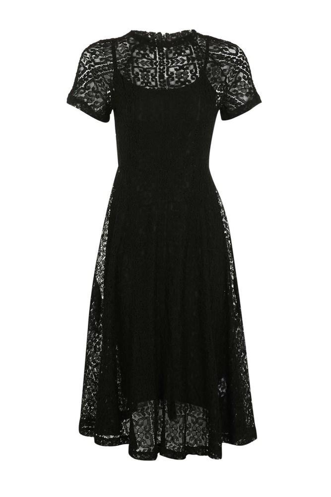 """<a href=""""http://www.topshop.com/en/tsuk/product/clothing-427/dresses-442/romantics-black-lace-maxi-dress-by-goldie-5888607?bi=0&ps=20"""">Dress, approx. $110, Goldie at topshop.com</a>"""