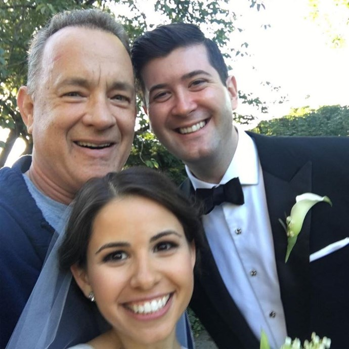 """<p><strong>Tom Hanks</strong> <p>Tom Hanks was walking through Central Park when he stumbled across newlyweds Elizabeth and Ryan, who were doing their wedding shoot. He took a selfie with them and <a href=""""https://www.instagram.com/p/BKwSD-vA20m/?taken-by=tomhanks&hl=en"""">posted on Instagram</a>, """"Elizabeth and Ryan! Congrats and Blessings! Hanx."""" Their wedding photographer also captured the action."""