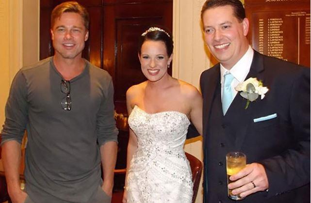 "**Brad Pitt** U.K. Bride Abi Lingwood got a*big* surprise on her big day when her husband Daniel told her spotted none other than Brad Pitt at the hotel bar where they were holding their wedding reception.<br><br>  ""My husband said to me that Brad Pitt was at the bar and you have got to come with me so he dragged me across the hotel. I thought he was joking,"" she [said](https://www.huffpost.com/entry/brad-pitt-wedding-crasher_n_3942686