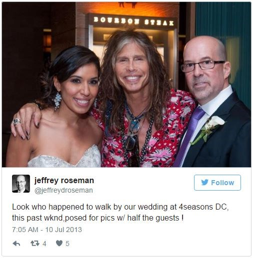 """<p><strong>Steven Tyler</strong> <p>Like Brad, Steven Tyler was an <a href=""""http://www.huffingtonpost.com/2013/07/11/steven-tyler-wedding-crasher_n_3580999.html"""">invited wedding crasher</a>, when newlyweds Jeffrey Roseman and Shirley Ramos asked the rocker to join them. He posed for some photos but was quickly ushered away by his bodyguard."""