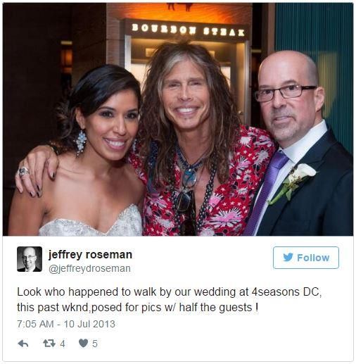 "<p><strong>Steven Tyler</strong> <p>Like Brad, Steven Tyler was an <a href=""http://www.huffingtonpost.com/2013/07/11/steven-tyler-wedding-crasher_n_3580999.html"">invited wedding crasher</a>, when newlyweds Jeffrey Roseman and Shirley Ramos asked the rocker to join them. He posed for some photos but was quickly ushered away by his bodyguard."