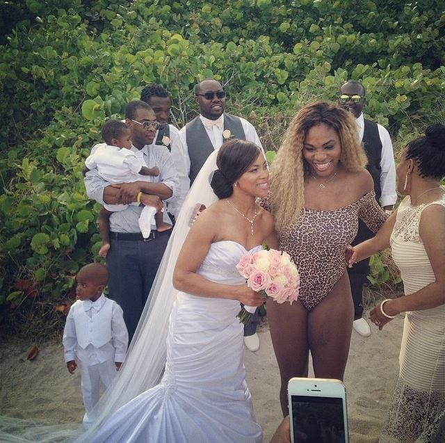 <p><strong>Serena Williams</strong> <p>Serena Williams was a standout in her leopard print one-piece when she crashed the wedding of Ruth and Sam Kormoi in Miami Beach in 2014. To be fair, it was a beach wedding, and she took photos with the happy couple.