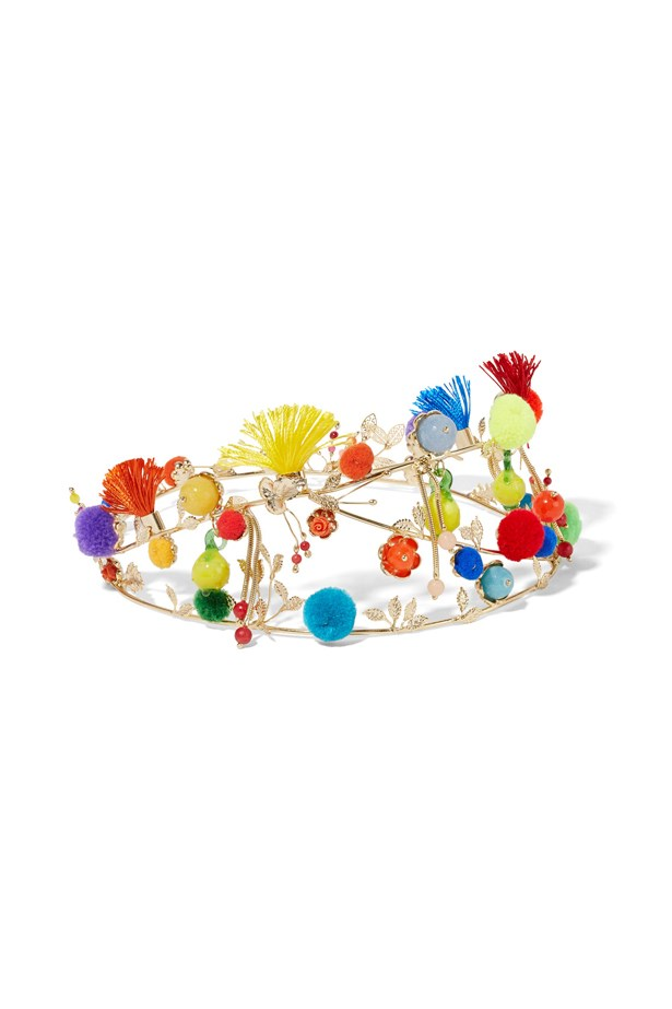 "<a href=""https://www.net-a-porter.com/au/en/product/716872/rosantica/vanusita-embellished-gold-tone-quartz-headpiece"">Headpiece, $607, Rosantica at net-a-porter.com. </a>"