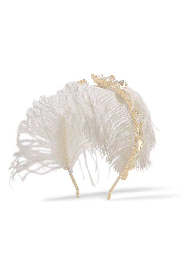 "<a href=""https://www.theoutnet.com/en-US/product/Rosantica/Gold-tone-pearl-and-feather-headband/739172"">Headband, $280, Rosantica at theoutnet.com. </a>"