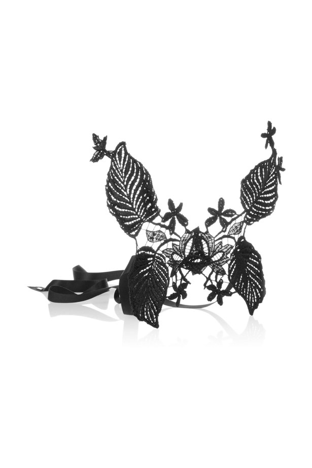 "<a href=""https://www.theoutnet.com/en-US/product/Jennifer-Behr/Floral-silk-lace-mask/503543"">Mask, $351, Jennifer Behr at theoutnet.com.</a>"