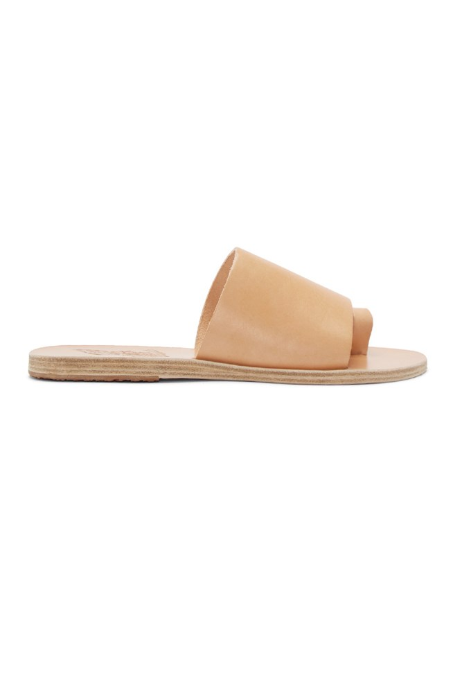 "<a href=""https://www.ssense.com/en-us/women/product/ancient-greek-sandals/beige-leather-ligia-sandals/1363883"">Sandals, approx. $195, Ancient Greek Sandals at ssense.com</a>"
