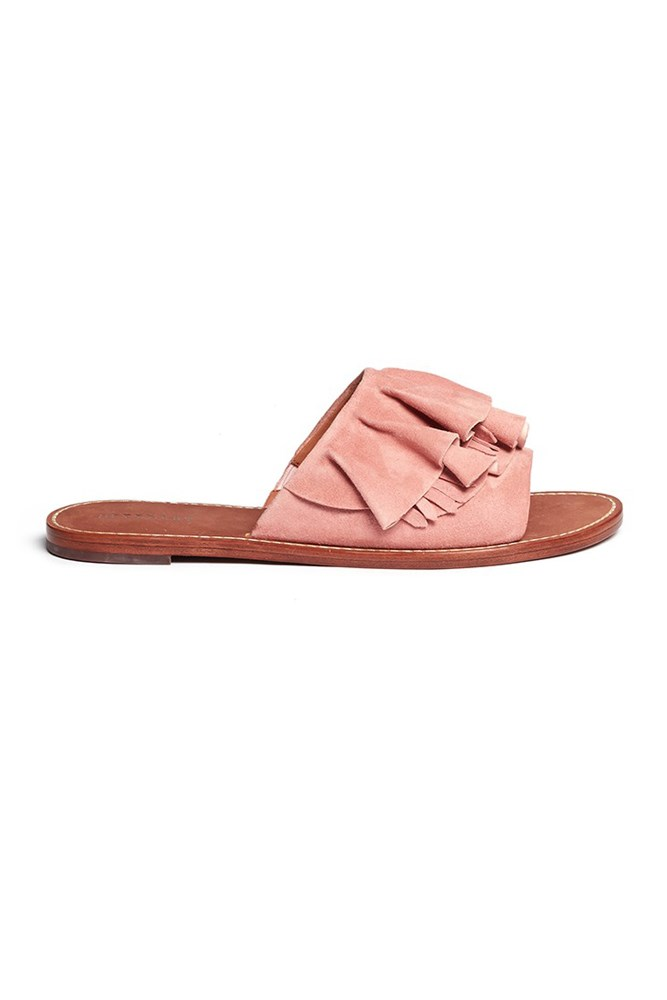"<a href=""http://www.lanecrawford.com/product/10-crosby-derek-lam/-ann-kiltie-ruffle-suede-slide-sandals/_/QWV949/product.lc?id=QWV949&selectedColor=QWV949&selectedSize=undefined&_requestid=152871"">Sandals, $335, 10 Crosby Derek Lam at lanecrawford.com</a>"