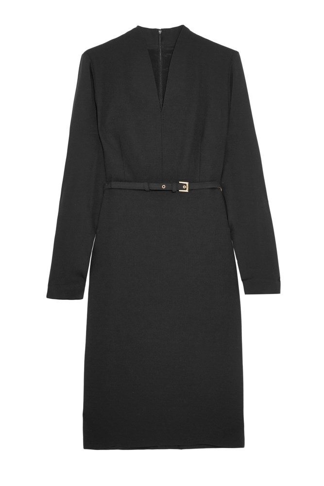 """""""This Max Mara dress is perfect as its cinched in at the waist and has a sleeve. We loved Carolyn's dress from tonight's episode as it was form-fitting and showed off her new shape. Avoid baby-doll dress shapes or wide, tent-like dresses: bigger isn't always better.""""<br><br> <a href=""""https://www.net-a-porter.com/au/en/product/708583"""">Dress, $1199, Max Mara at net-a-porter.com</a>"""