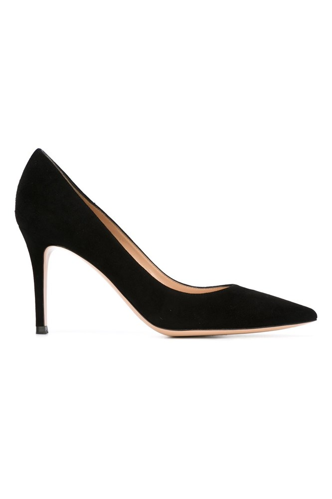 """""""When going through Carolyn's wardrobe we found she didn't have a simple black pump, and the footwear she did have was quite chunky and heavy-looking. A pointed pump is feminine, elongates the leg and won't cut you off at the ankle. Never underestimate its power."""" <br><br> <a href=""""https://www.farfetch.com/au/shopping/women/Gianvito-Rossi-Business-pumps-item-11546135.aspx"""">Pumps, $925, Gianvito Rossi at farfetch.com</a>"""