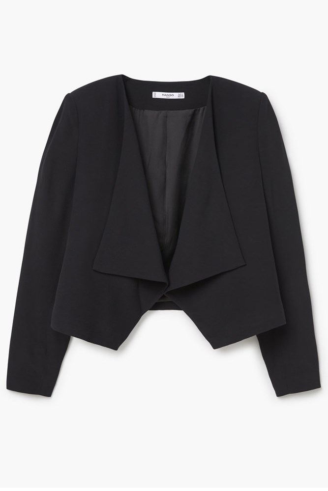 """""""It's useful to have a versatile jacket to put over shirts, jumpers or dresses. A slightly fitted one with a waterfall collar is extremely flattering as it draws the eye to your neck and waist highlighting your narrowest, most flattering areas. Stay away from boxier shapes such as boyfriend jackets: you want a narrow sleeve and exaggerated collar.""""<br><br><a href=""""http://shop.mango.com/AU/p0/woman/clothing/jackets/jackets/waterfall-jacket?id=71087005_53&n=1&s=search"""">Jacket, $99.95, Mango</a>"""