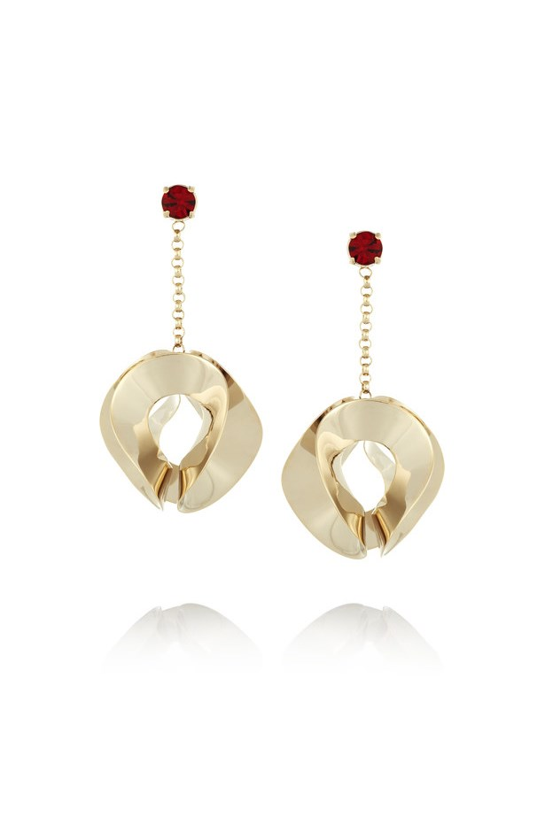 "Earrings, $401, <a href=""https://www.net-a-porter.com/au/en/product/644081/etro/gold-plated-crystal-earrings"">Etro at net-a-porter.com</a>."