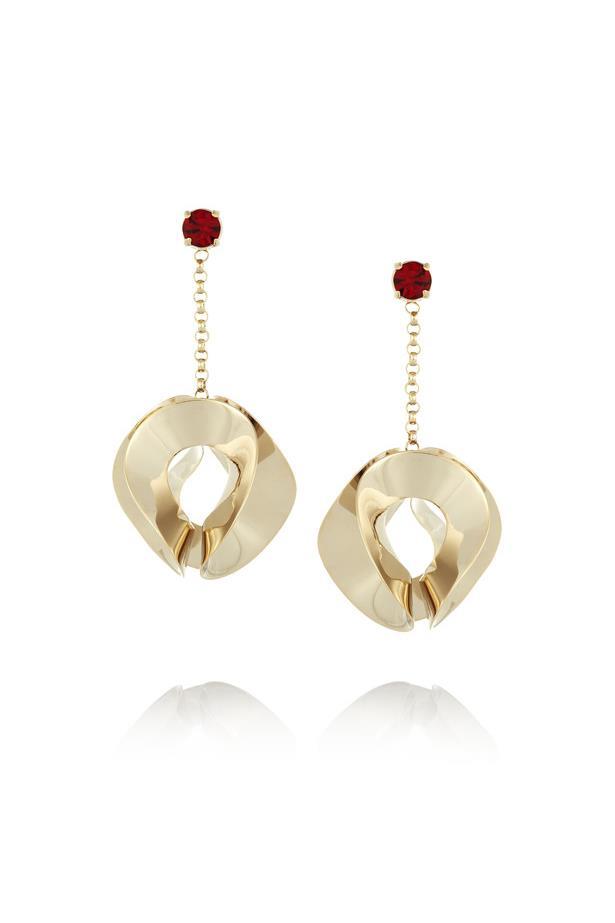 "Earrings, $401, <a href=""https://www.net-a-porter.com/au/en/product/644081/etro/gold-plated-crystal-earrings"">Etro at net-a-porter.com</a>."