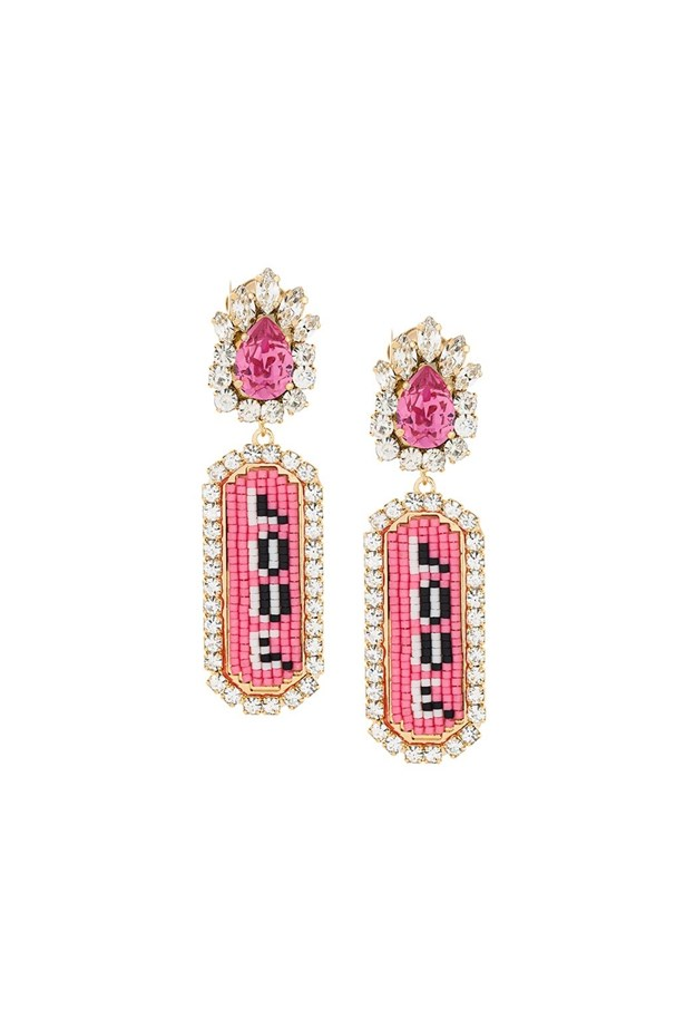"Earrings, $308, <a href=""https://www.farfetch.com/au/shopping/women/shourouk--moodz-love-clip-on-earrings-item-11633490.aspx?storeid=9329&from=listing&ffref=lp_pic_414_2_"">Shourouk at farfetch.com.</a>"
