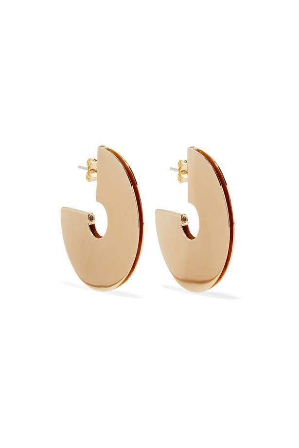"Earrings, $225, <a href=""https://www.net-a-porter.com/au/en/product/758268/elizabeth_and_james/mair-gold-plated-topaz-hoop-earrings"">Elizabeth and James at net-a-porter.com</a>."
