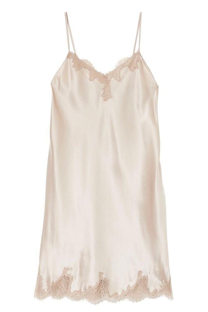 """<a href=""""http://ginia.com.au/collections/slips-intimates/products/silk-camisole-with-delicate-lace?variant=17948445573"""">Chemise, $169.95, Ginia</a>"""