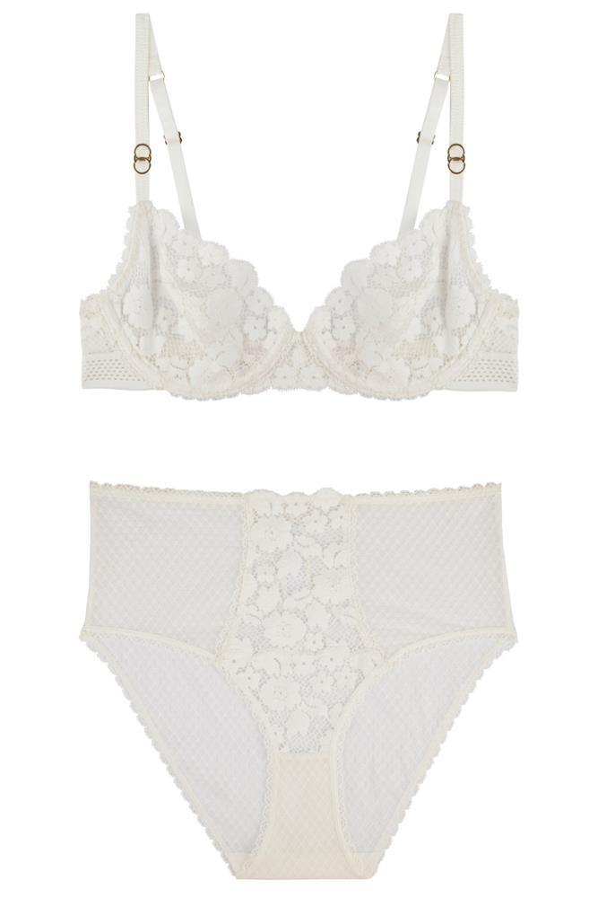 """<a href=""""http://www.bendonlingerie.com.au/stella-mccartney-lingerie-elsa-endearing-underwire-bra-primrose-s20-266-prim"""">Bra, $89.95</a>; and <a href=""""http://www.bendonlingerie.com.au/stella-mccartney-lingerie-elsa-endearing-french-knicker-primrose-s35-266-prim"""">Knickers, $49.95</a>, Stella McCartney"""