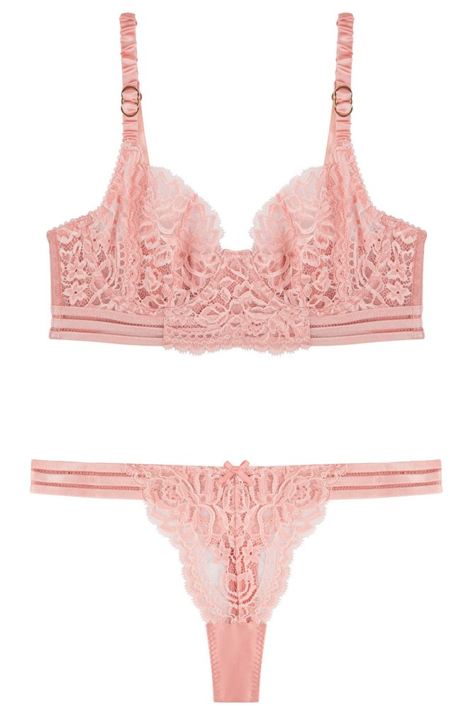 """<a href=""""http://www.bendonlingerie.com.au/stella-mccartney-lingerie-isabel-floating-underwire-long-line-bra-pink-clay-s231-239-pkcy"""">Bra, $139.95</a>; and <a href=""""http://www.bendonlingerie.com.au/stella-mccartney-lingerie-isabel-floating-thong-pink-clay-s37-239-pkcy"""">Thong, $69.95</a>, Stella McCartney"""