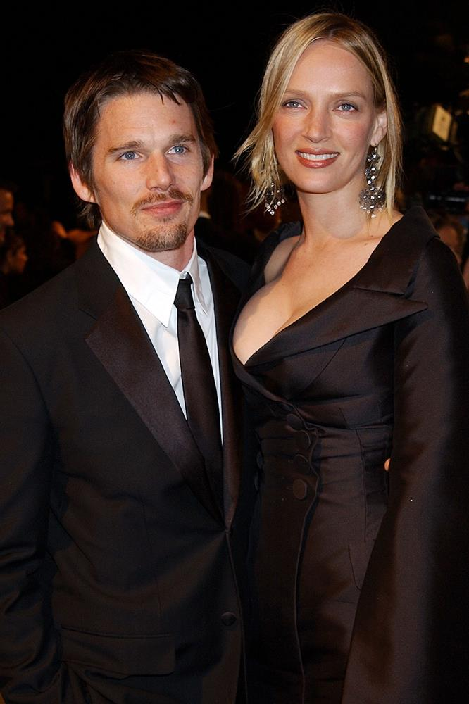 <strong>Ethan Hawke and Uma Thurman</strong><br> Though long divorced, Thurman and Hawke are a worthy mention for their most chance of meetings. Hawke apparently tried to start conversation with Thurman in the line for an ATM in New York's East Village, but she more or less ignored him. They started dating while filming the movie <em>Gattaca </em>in 1997.