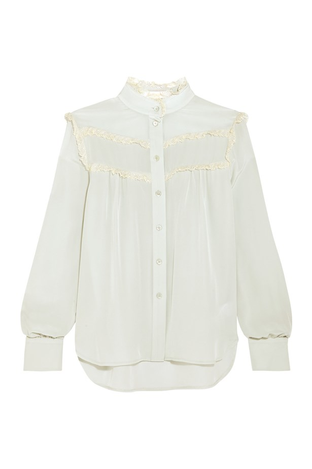 "Blouse, $391, <a href=""https://www.net-a-porter.com/au/en/product/755949/see_by_chloe/lace-trimmed-silk-crepe-de-chine-blouse"">See by Chloé at net-a-porter.com</a>."