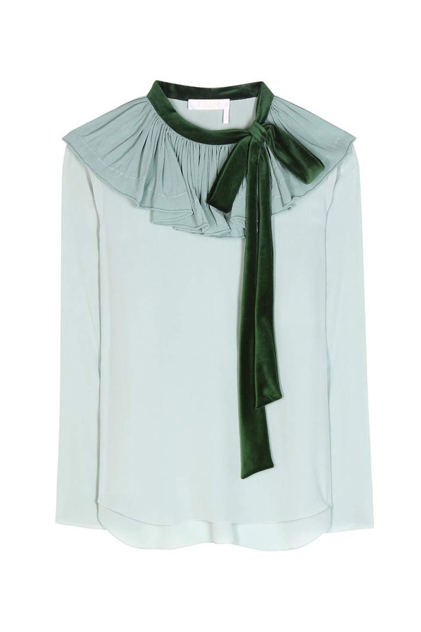 "Blouse, $2,140, <a href=""http://www.mytheresa.com/en-au/velvet-trimmed-silk-crepe-top-672899.html?catref=category"">Chloé at mytheresa.com</a>."