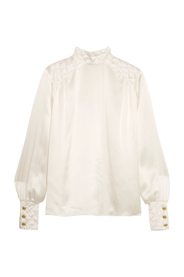 "Blouse, $605, <a href=""https://www.net-a-porter.com/au/en/product/762199/pierre_balmain/quilted-silk-satin-blouse"">Pierre Balmain at net-a-porter.com</a>."