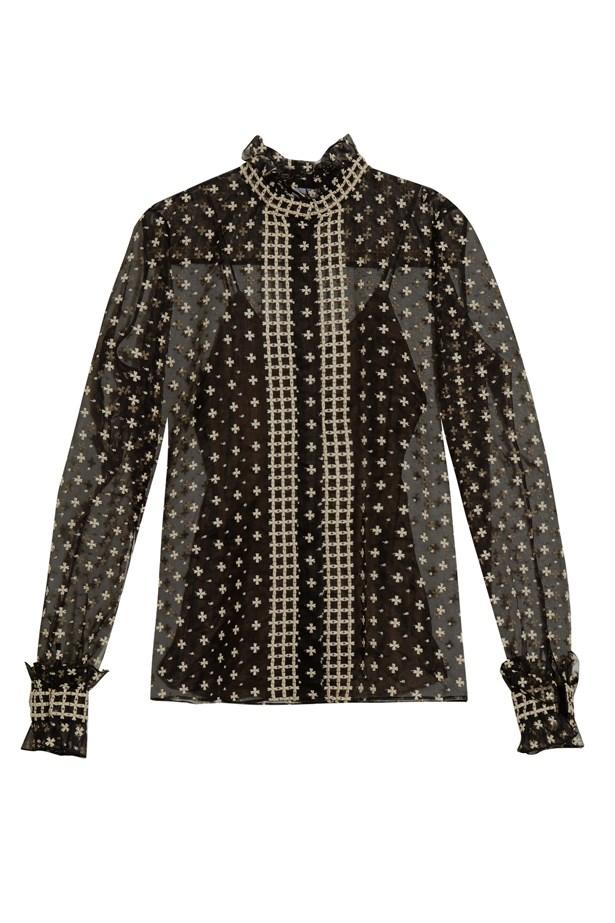 """Blouse, $2,607, <a href=""""http://www.matchesfashion.com/au/products/Oscar-De-La-Renta-Ruffled-neck-embroidered-blouse-1054344"""">Oscar de la Renta at matchesfashion.com</a>."""