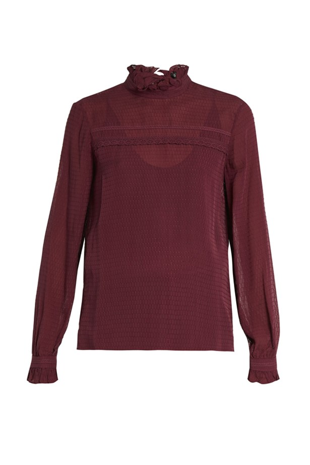 "Blouse, $428, <a href=""http://www.matchesfashion.com/au/products/Saloni-Emile-silk-jacquard-blouse-1064312"">Saloni at matchesfashion.com</a>."
