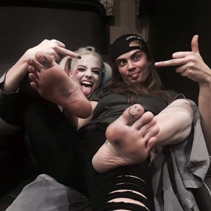 Margot Robbie and Cara Delevingne tattooed each other on the toes after their film <em>Suicide Squad</em> wrapped.