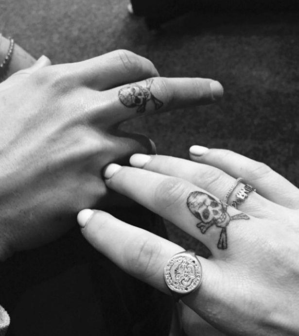 Ellie Goulding and boyfriend Dougie Poynter got these matching skulls.